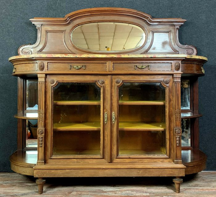 Sideboard has the function of a Louis XVI lounge bookcase in walnut - Walnut - Mid 19th century