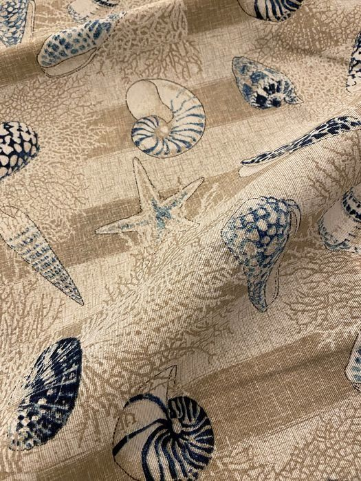 280 x 270 cm patterned fabric with blue marine subjects - cotton blend - Second half 20th century
