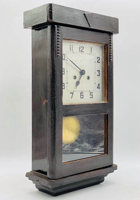 Jacob Kienzle - Special Pendulum Clock - Art Deco - Bronze, Wood