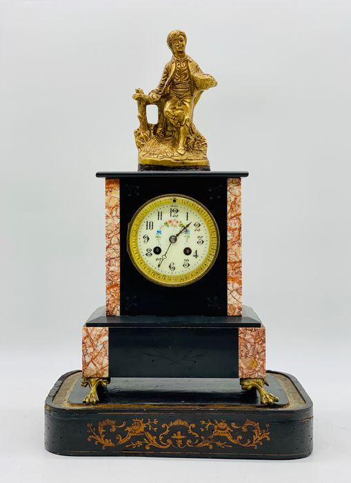Table Clock with Sculpture - Bronze, Marble - Second half 19th century