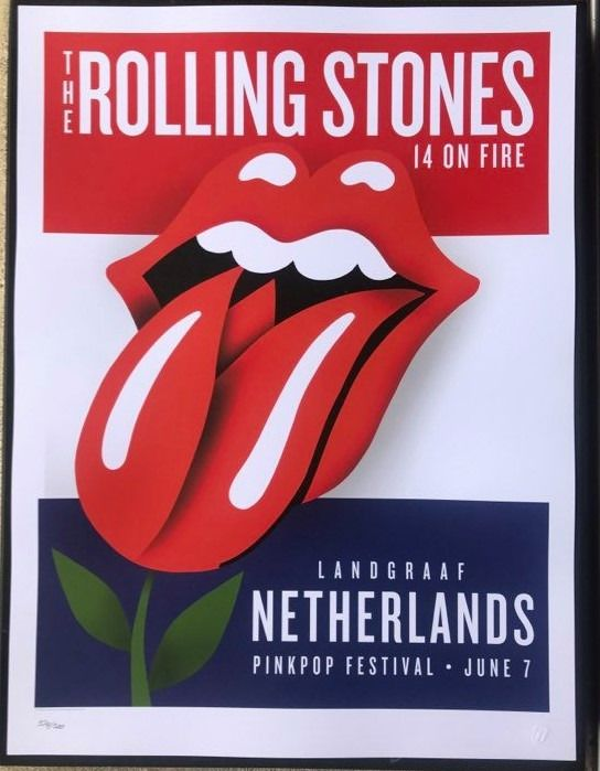 Rolling Stones - Netherlands-14 on fire tour 2014-number 374/500-pinkpop festival - Multiple titles - Limited edition, Official merchandise memorabilia item, Original Lithograph - 2014/2014