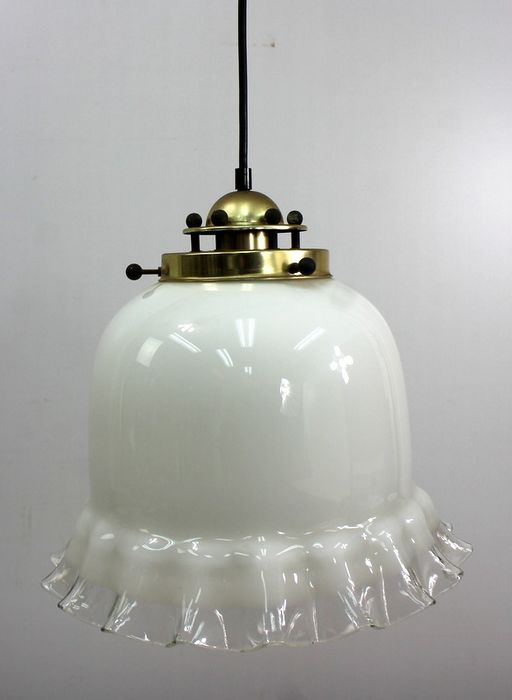 Hanging lamp with scalloped glass shade - Brass, Glass