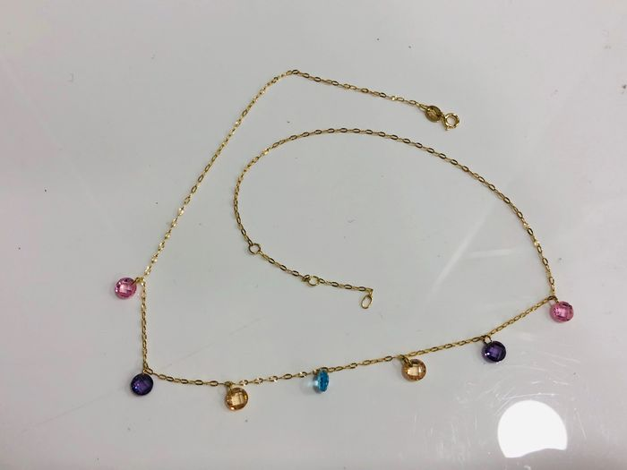 18 kt. Yellow gold - Necklace - 3.50 ct Mixed