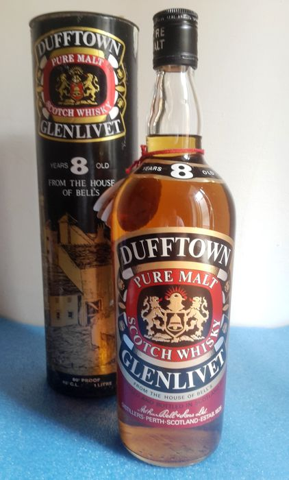Dufftown-glenlivet 8 years old Duty Free - Original bottling - b. 1970s - 1.0 Litre