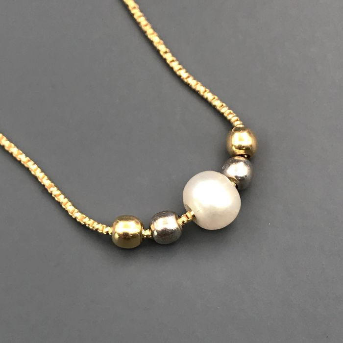 18 kt. South sea pearl, Yellow gold, 5 mm - Necklace with pendant