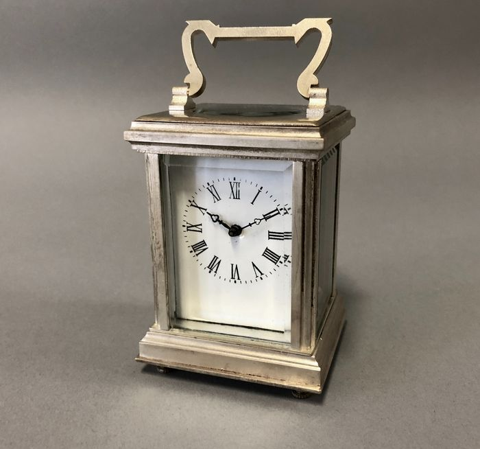 Carriage clock - Silver plated - Late 20th century
