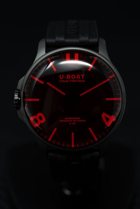 U-Boat - Capsoil Darkmoon Collection Red Black DLC with Rubber Strap  - 8466 - Men - BRAND NEW