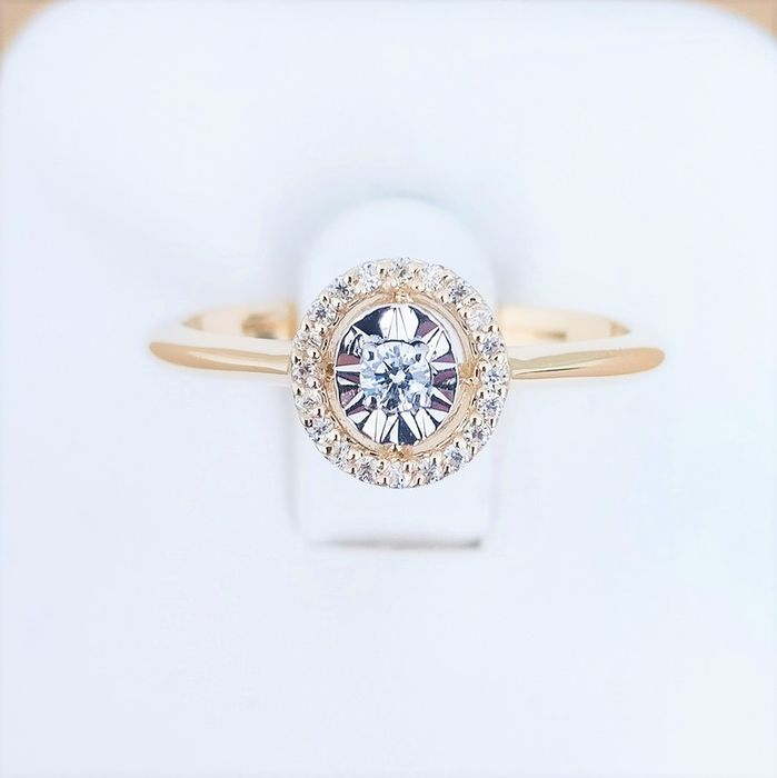 14 kt. Bicolour - Ring - 0.05 ct Diamond - Diamond