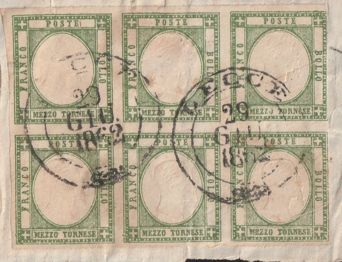 Italienische Antike Staaten - Neapel 1862 - Neapolitan provinces 1/2 t. olive green block of 6 on part of band from Lecce, certified rarity - Sassone N. 17b