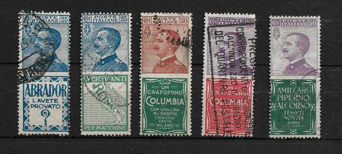 Italy Kingdom 1924/1926 - Advertising stamps - selection of 5 used values - Sassone NN. 4, 7, 9, 11, 13