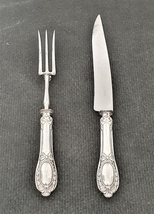 Carving set (2) - .950 silver - France - Second half 19th century