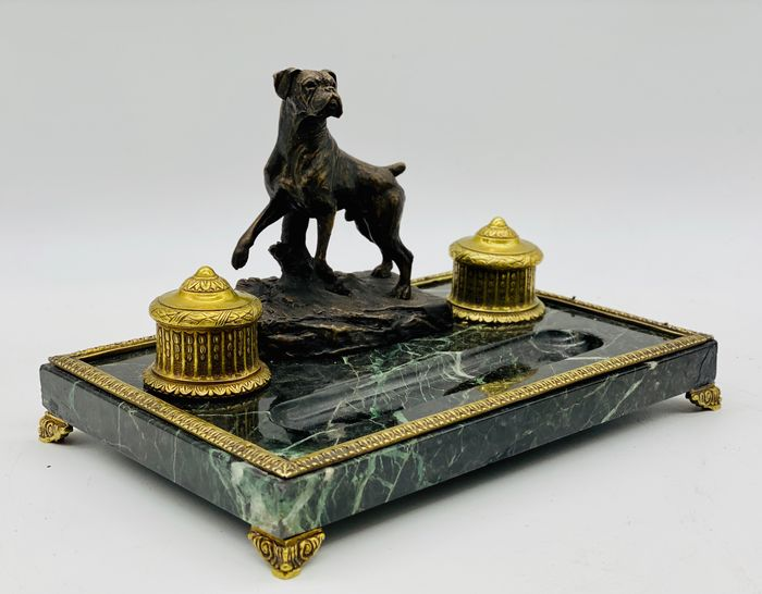 Desktop inkwell, hunting figure - Victorian - Bronze, Marble - Late 19th century