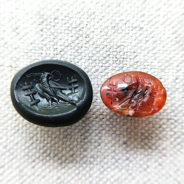 Ancient Roman Carnelian Intaglio with an Imperial Eagle - 2.5×10×14 mm - (1)