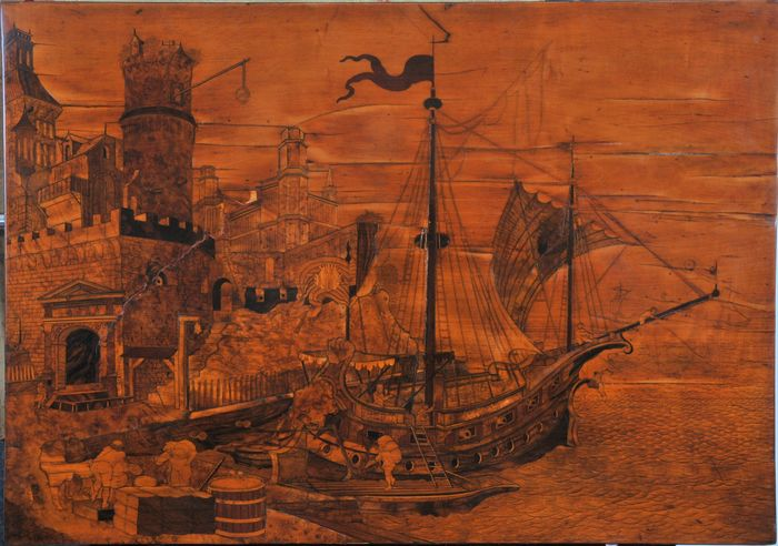 In the manner of Adam and David Roentgen - Marquetry landscape attributed to Adam and David Roentgen, 18th century - Baroque - Wood - 18th century
