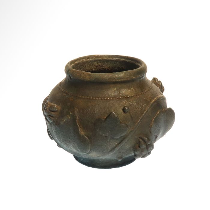 Ancient Roman Bronze Vase with High Relief Vine Leaves and Grapes,