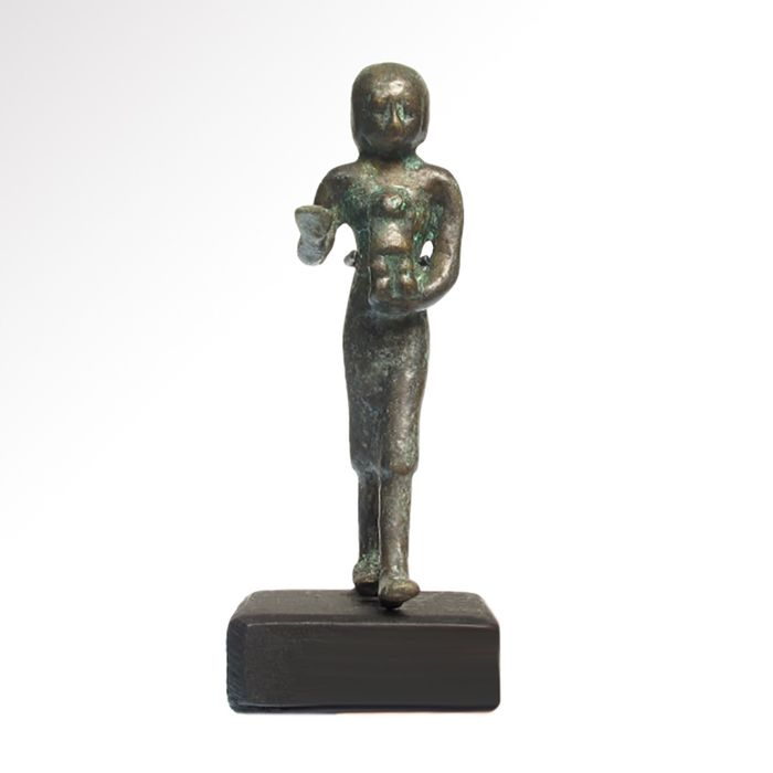 Ancient Egyptian Bronze Figure of a Scribe-Priest Carrying a Baboon, 1000 BC