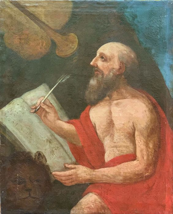 "Painting, ""St. Jerome listens to the trumpet of universal judgment"" - oil painting on canvas - Mid 17th century"