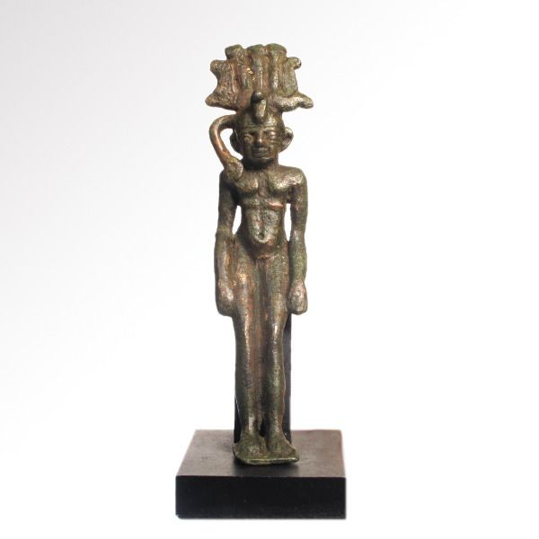 Ancient Egyptian Bronze Figure of Somtus, Waering the Nemes crown.