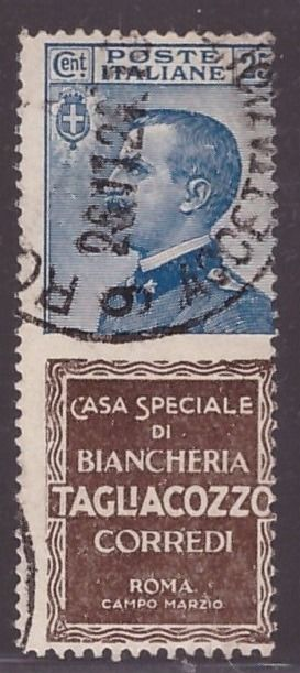 Italy Kingdom 1924 - 25 cents Tagliacozzo advertising stamps - Sassone N. 8