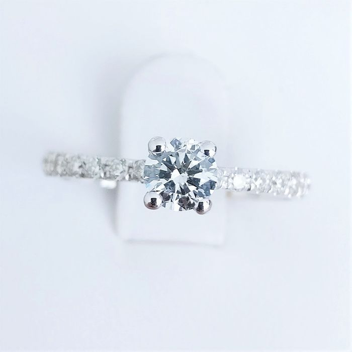 18 kt. White gold - Ring - 0.34 ct Diamond - Diamond