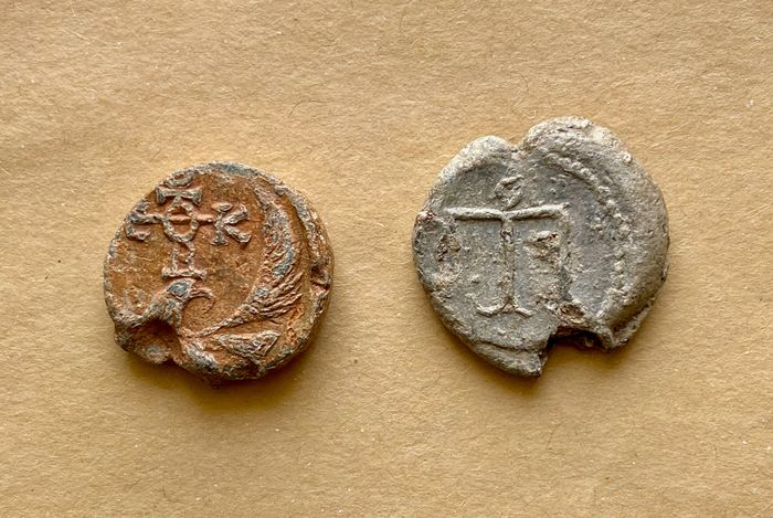 Byzantine Empire - Lot of 2 lead seals with eagle/monograms, 6th/7th centuries - Lead