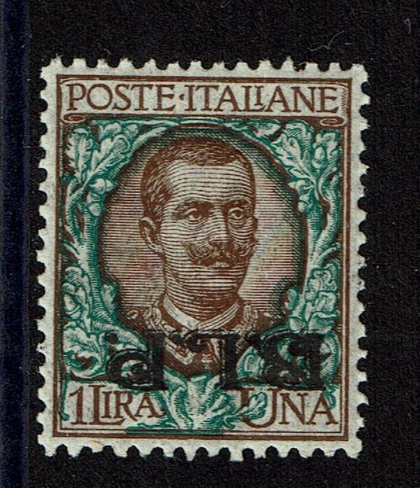Italy Kingdom 1922 - BLP postal envelopes - 1 lira brown and green with inverted overprint - Sassone N. 12 b