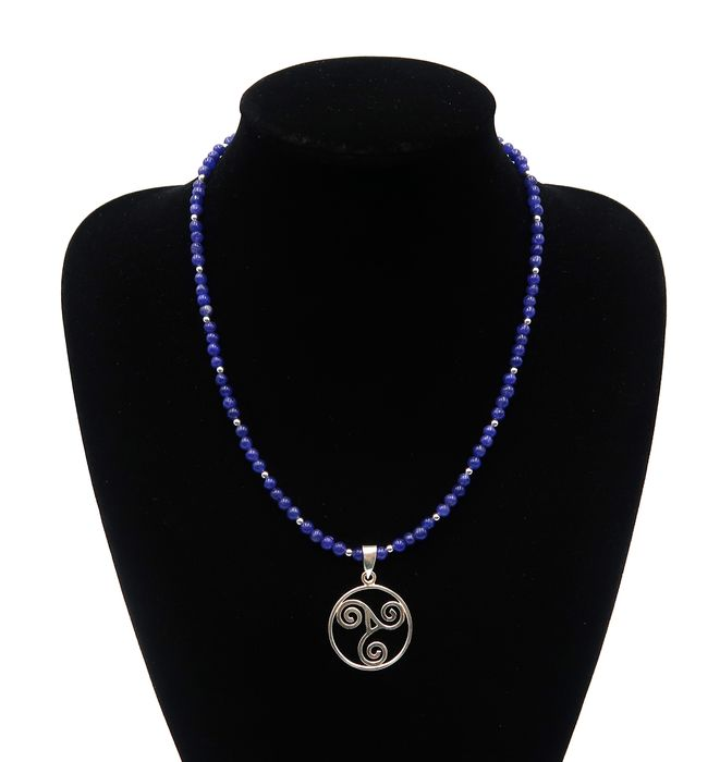 Necklace of sapphire and silver pearls decorated with a solid silver triskel - Celtic symbol - .925 silver, Sapphire