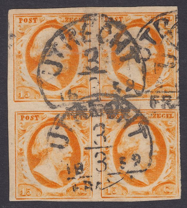 Netherlands 1852 - King Willem III in a block of four - NVPH 3