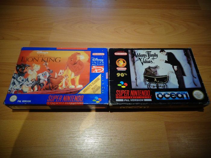 "Nintendo Snes - ""Addams Family Values & The Lion King"" Fully Complete - In originele verpakking"
