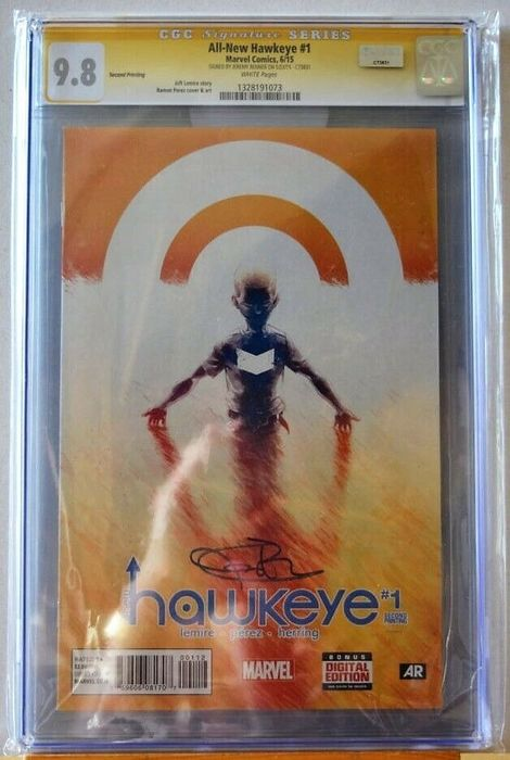 All-New Hawkeye #1 - Original Signature Series - CGC 9.8 - Signed: Jeremy Renner - Spillato - Prima edizione - (2015)