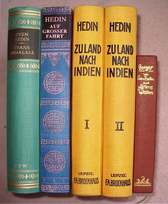 Sven Hedin - Lot with 5 books by this Asian-World Traveler - 1910/1953