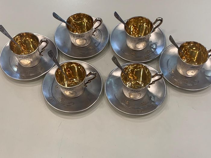 Coffee service (18) - .800 silver - Germany - Late 19th century