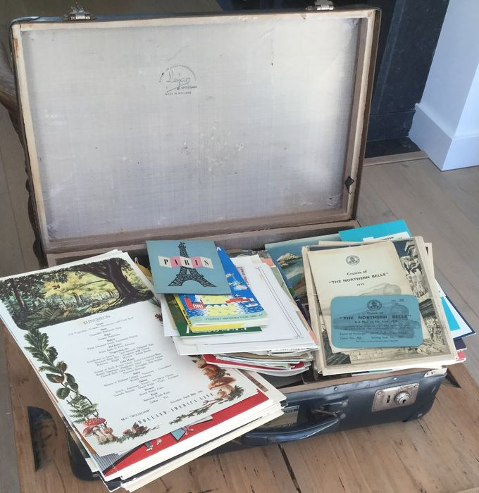 KLM crew travel suitcase filled with travel mementos 1935-2000 - Paper
