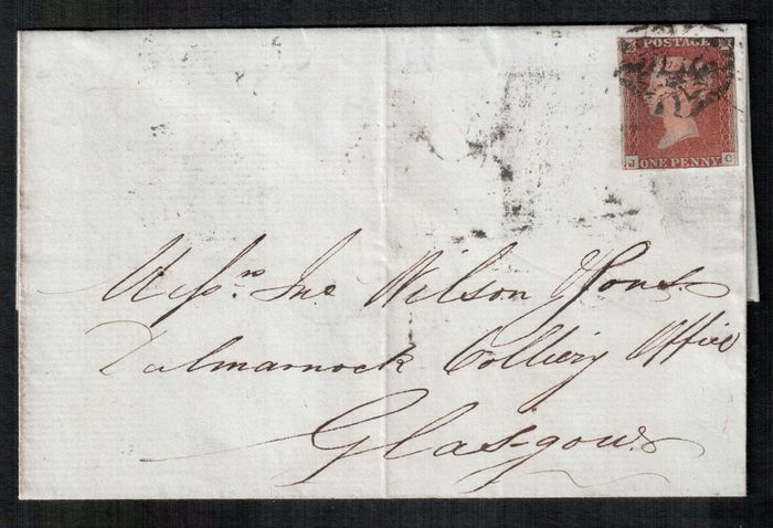 Gran Bretagna 1841/1843 - 1d red-brown selection of plates on letter with Black Maltese Cross - Stanley Gibbons SG8