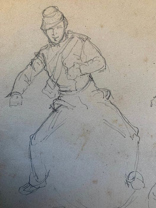 "Henry-Louis Dupray (French, 1883-1973) - Cavalry - pencil sketches for ""a patrouille"""