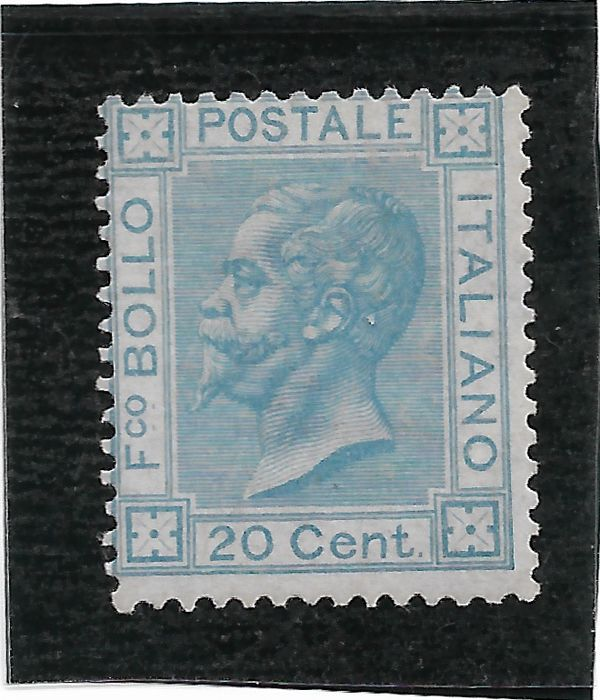 Italy Kingdom 1867 - 20 cents light blue Bigola type, Turin issue - Sassone N. T26