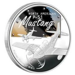 Tuvalu - 1 Dollar 2008 - WWII North American P-51 Mustang - 1 Oz - Silver