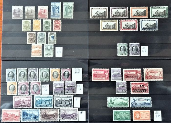 San Marino 1907/1936 - Selection of the period with express stamps in complete sets