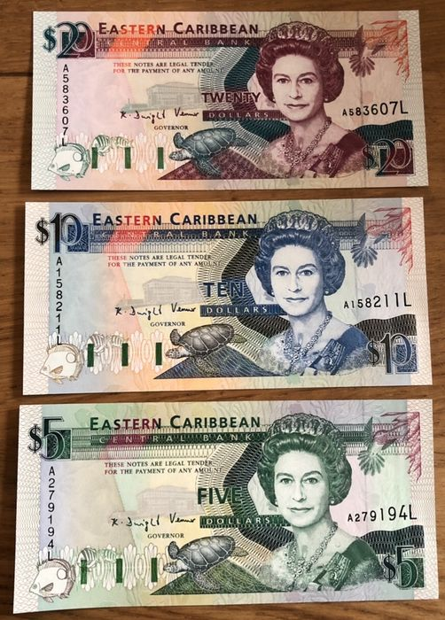 East Caribbean States - 5, 10 and 20 Dollar ND (1994) - Pick 31L, 32L and 33L
