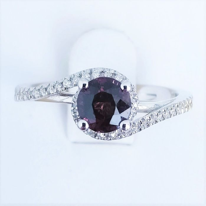 18 quilates Oro blanco - Anillo - 0.93 ct Turmalina - Diamante