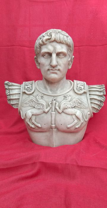 Bust Cesare Augusto - 65 cm - Neoclassical - Marble - 20th century