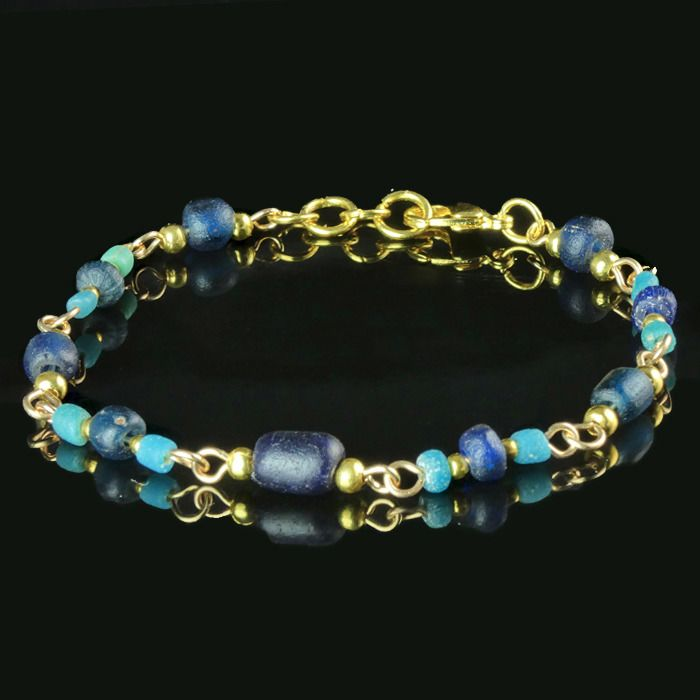 Ancient Roman Glass Bracelet with blue and turquoise glass beads - (1)