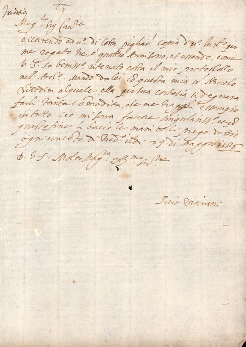 Piero Trivani - Manuscript; Request of XIV Century - Protocol for an Act from Trebbio Castle  - 1586