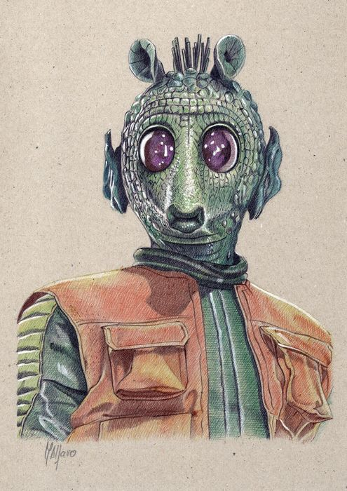 Star Wars - Greedo - Artwork, Painting, Original 1/1 - signed by the Artist