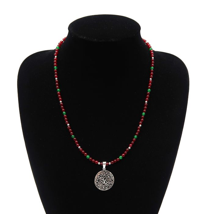 Emerald, ruby and silver pearl necklace decorated with a tree of life in solid silver - .925 silver, Emerald, Ruby