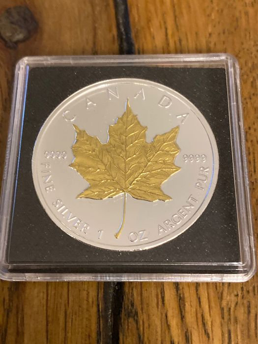 Canada - 5 Dollar 2009 - Maple Leaf - 24k gold gilded - 1 Oz - Silver