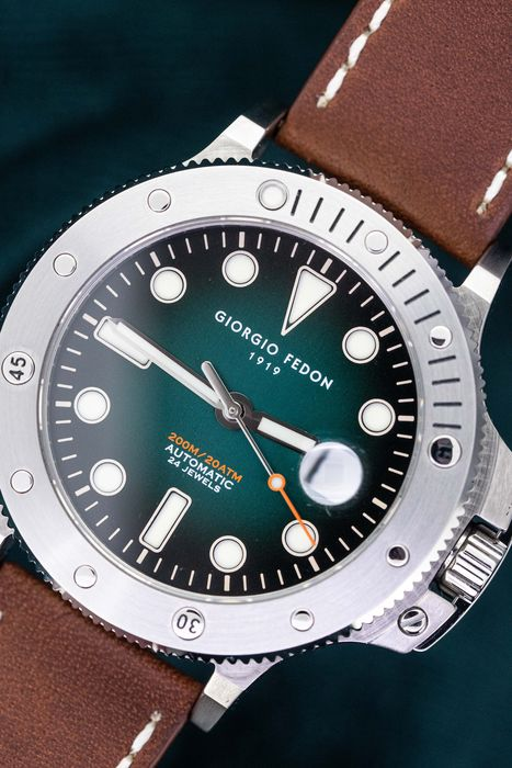 Giorgio Fedon - Automatic Aquamarine Stainless Steel Green Dial Brown Leather Strap - GFCR002 - Men - 2011-present