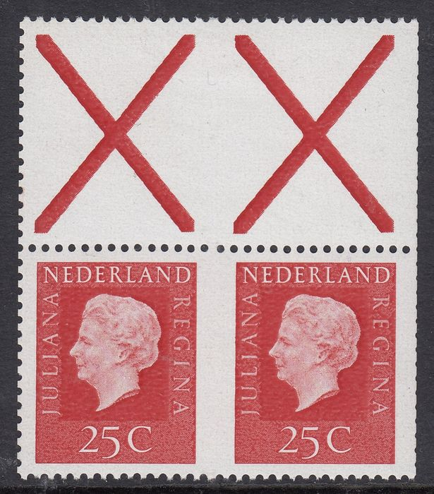 Netherlands 1969 - Queen Juliana, a pair without perforation in the middle and a printing error