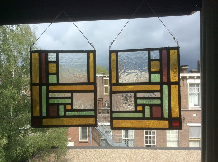 Two window hanger with geometric patterns - Stained glass