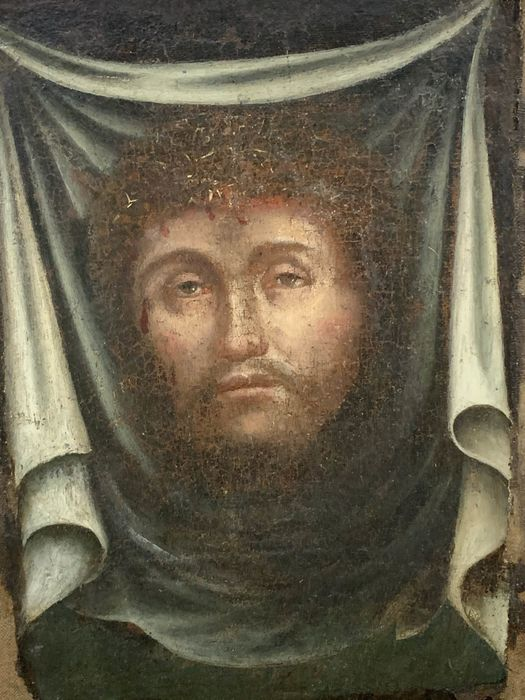 """Painting, """"The face of Christ"""" (fragment) - oil painting on canvas - Mid 17th century"""